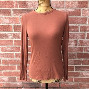 Mauve/dusty rose ribbed long sleeve top